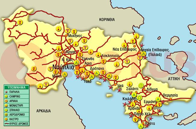 Χάρτης - Αργολίδα