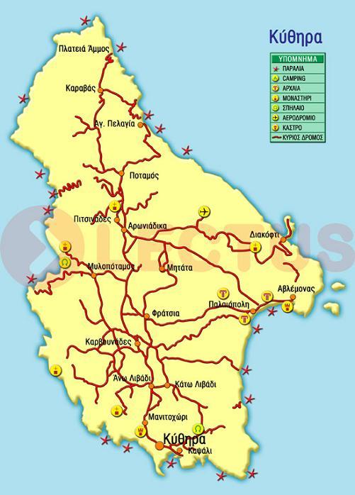 Χάρτης - Κύθηρα