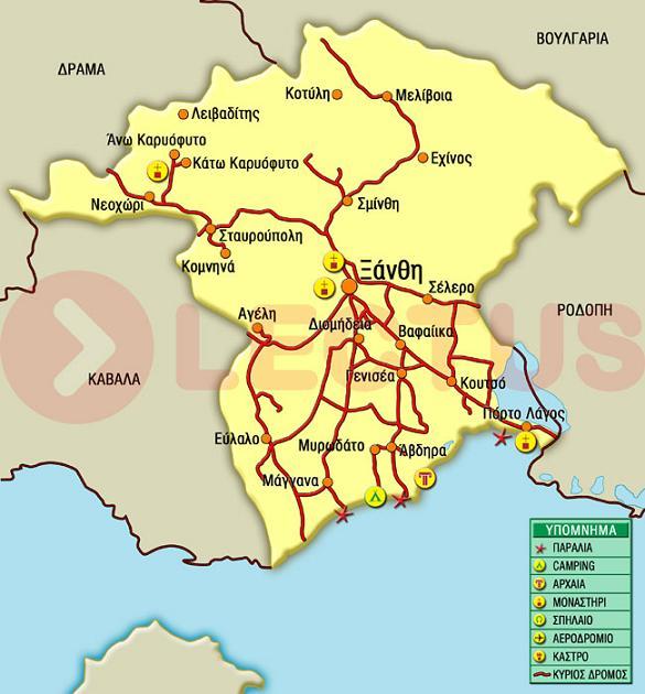 Χάρτης - Ξάνθη