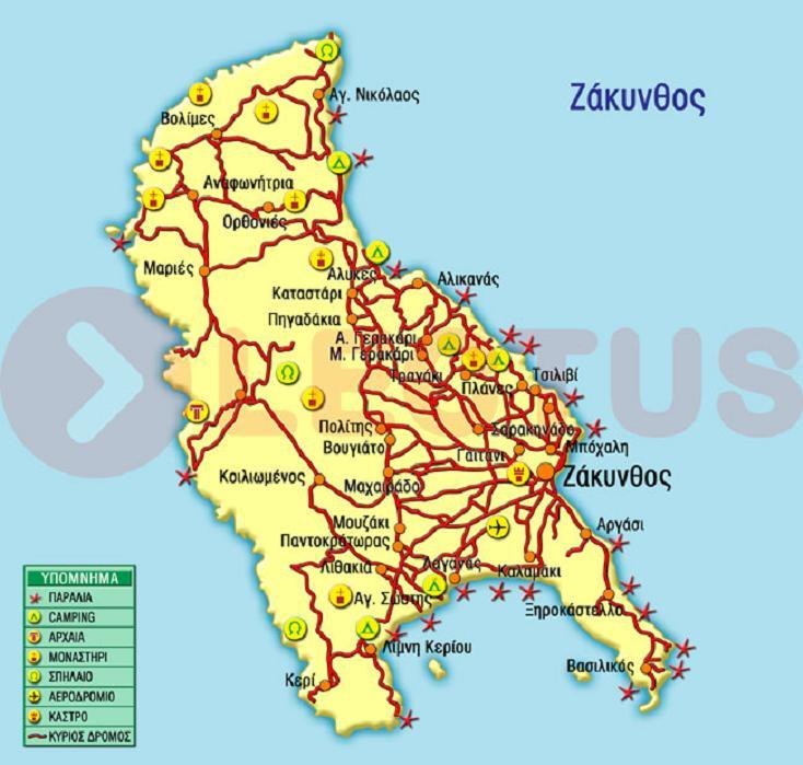 Χάρτης - Ζάκυνθος